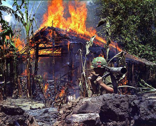 burning_Viet_Cong_base_camp6.3.68 at Cai Lay,, Mekong.